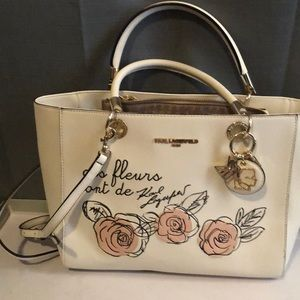 Karl Lagerfield white tote purse
